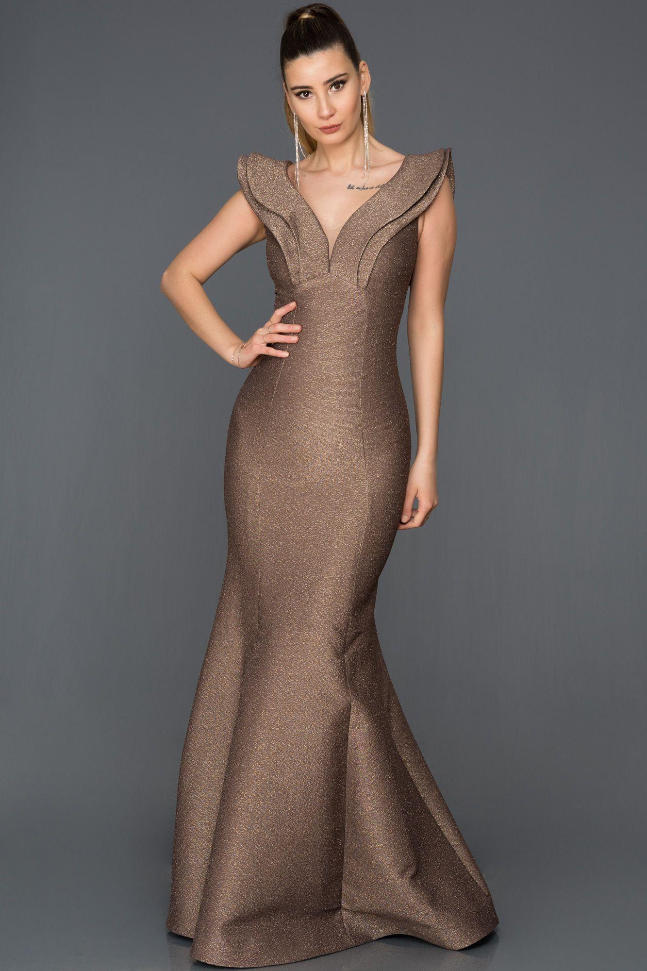 Bakir V Yaka Balik Abiye Abu318 The Dress Moda Stilleri Elbiseler