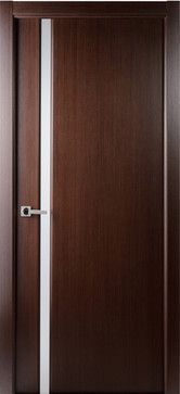 Perfect Contemporary Wenge Veneer Interior Single Door, Frosted Glass Strip    Contemporary   Interior Doors