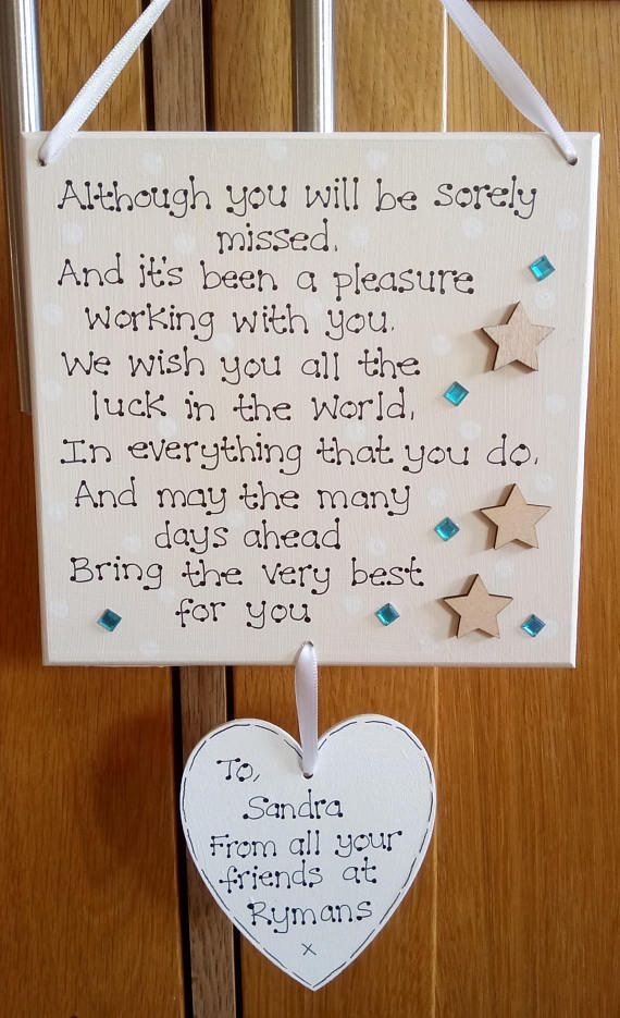 Personalised Colleague Gift Plaque Work Friend New Job