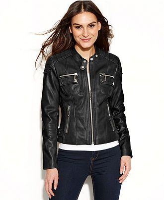 Michael Michael Kors Quilted Detail Leather Motorcycle Jacket