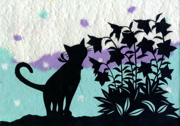 【エリーの切り絵】猫と桔梗