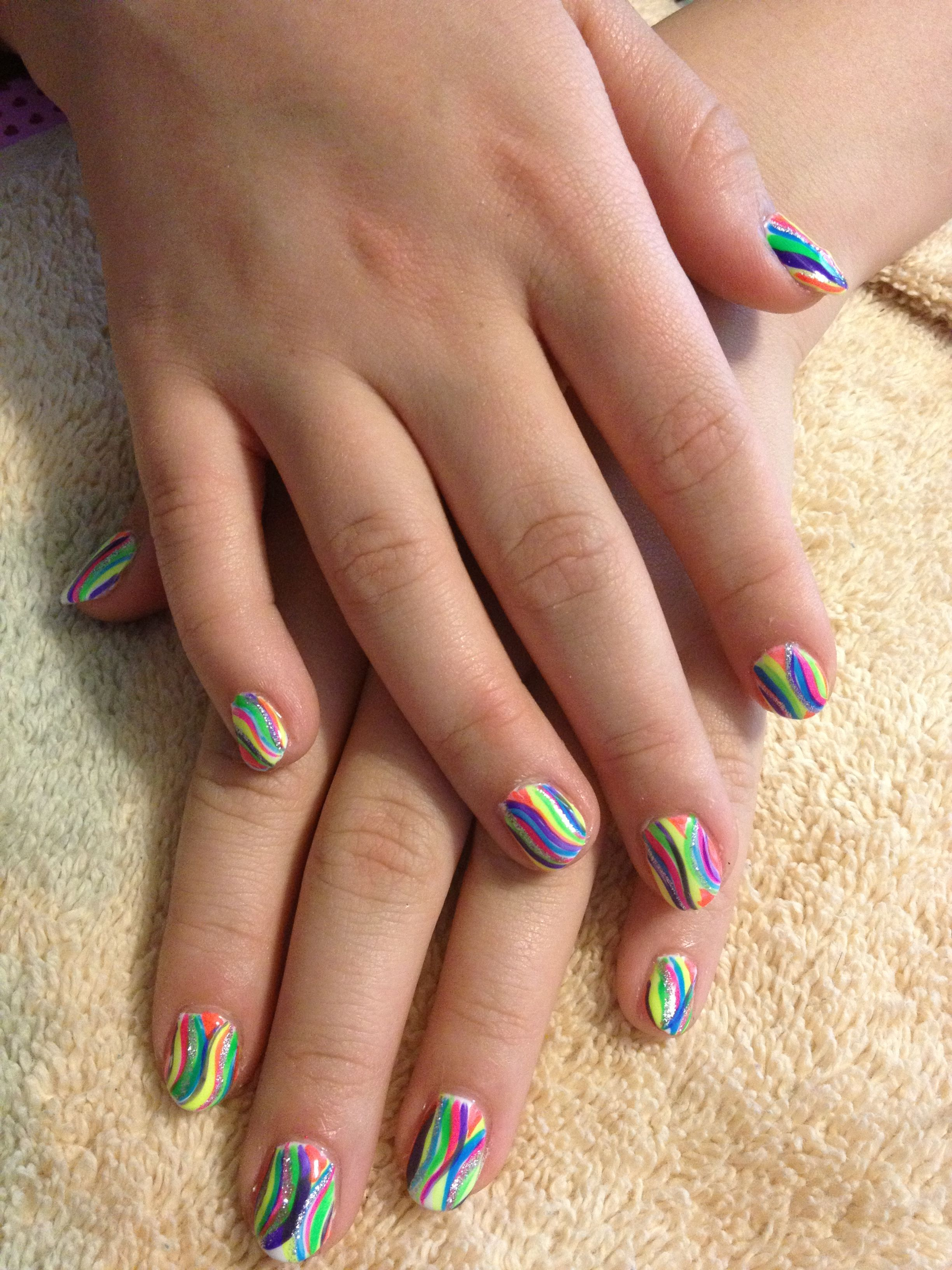 Gel mani with neon rainbow nails | Sara\'s nail designs | Pinterest