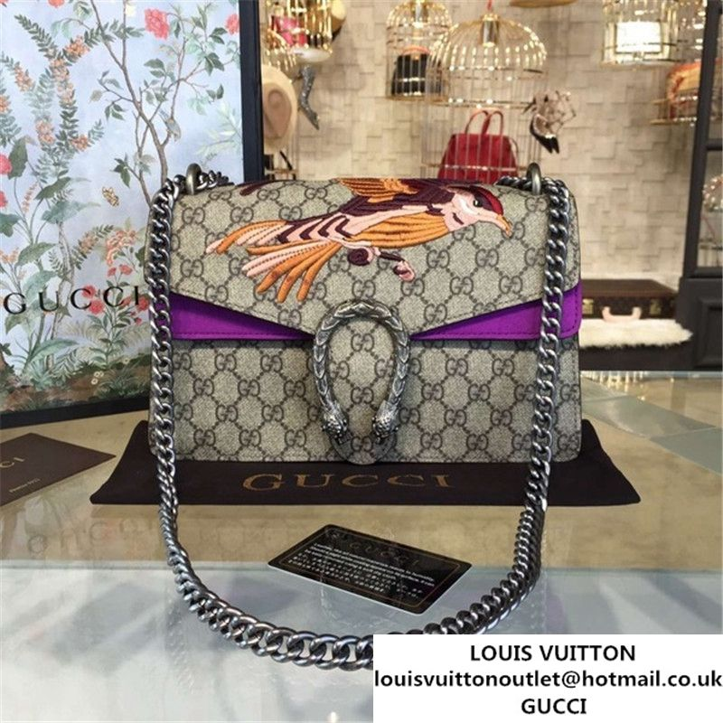 c571e1f74d4 Gucci Dionysus GG Supreme Canvas Shoulder Medium Bag with Bee Embroidery Fall  Winter 2016 Collection Purple Suede Beige