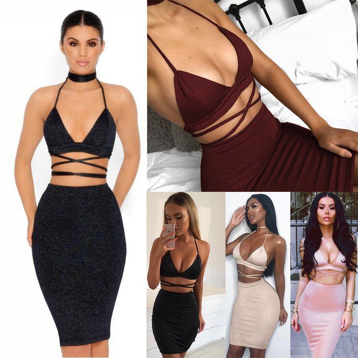 Women 2 Piece Set Dresses Bodycon Skirt Outfit Crop Top Mini Summer Dress Bandge Mini Dresses Summer Hot Outfits Bodycon Skirt Outfit [ 1200 x 1200 Pixel ]