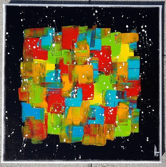 Tableau Abstrait Peinture Contemporain Coloré Fond Noir Vertical