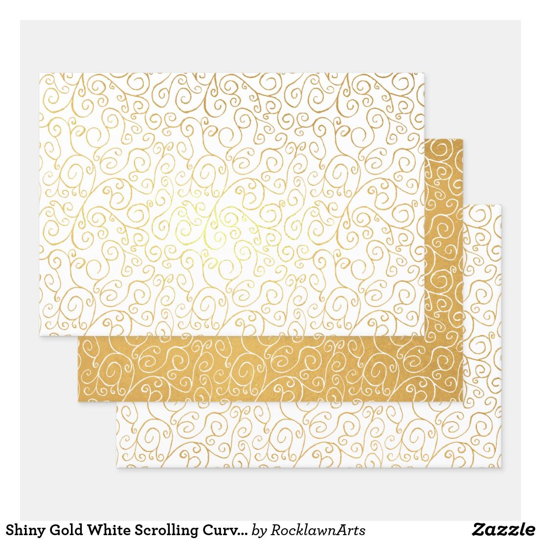 Shiny Gold White Scrolling Curves Abstract Pattern Foil Wrapping Paper Sheets Zazzle Com Wrapping Paper Sheets Gold Foil Background Gift Wrapping Supplies