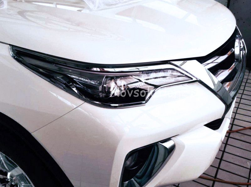 Head Lamp Light Corner Cover Carbon Trim For Toyota Fortuner Suv 2015-2017