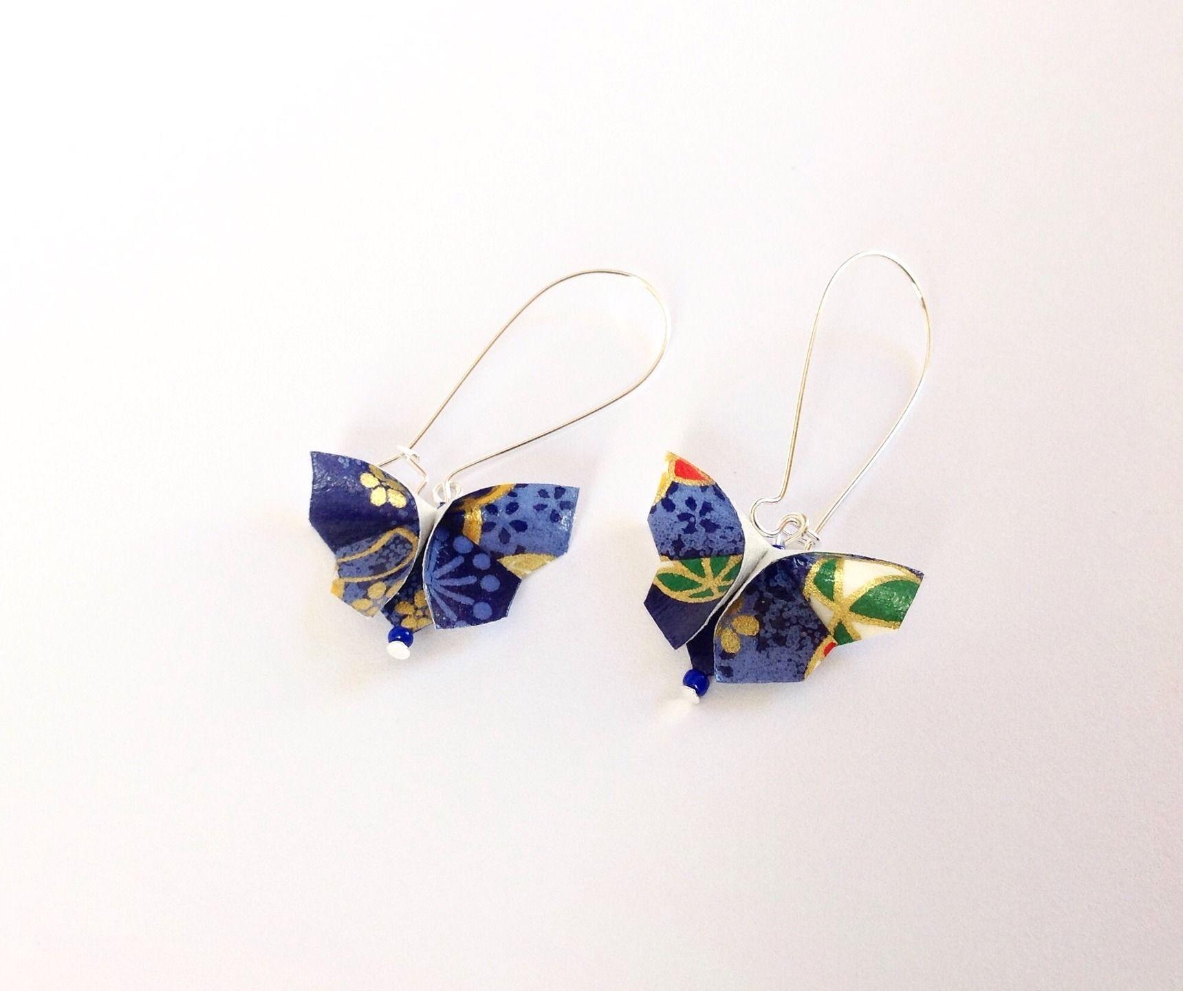 Boucles Du0027oreilles Papillon Origami Papier Origami Japonais Bleu Et Dorê :  Boucles Du0027