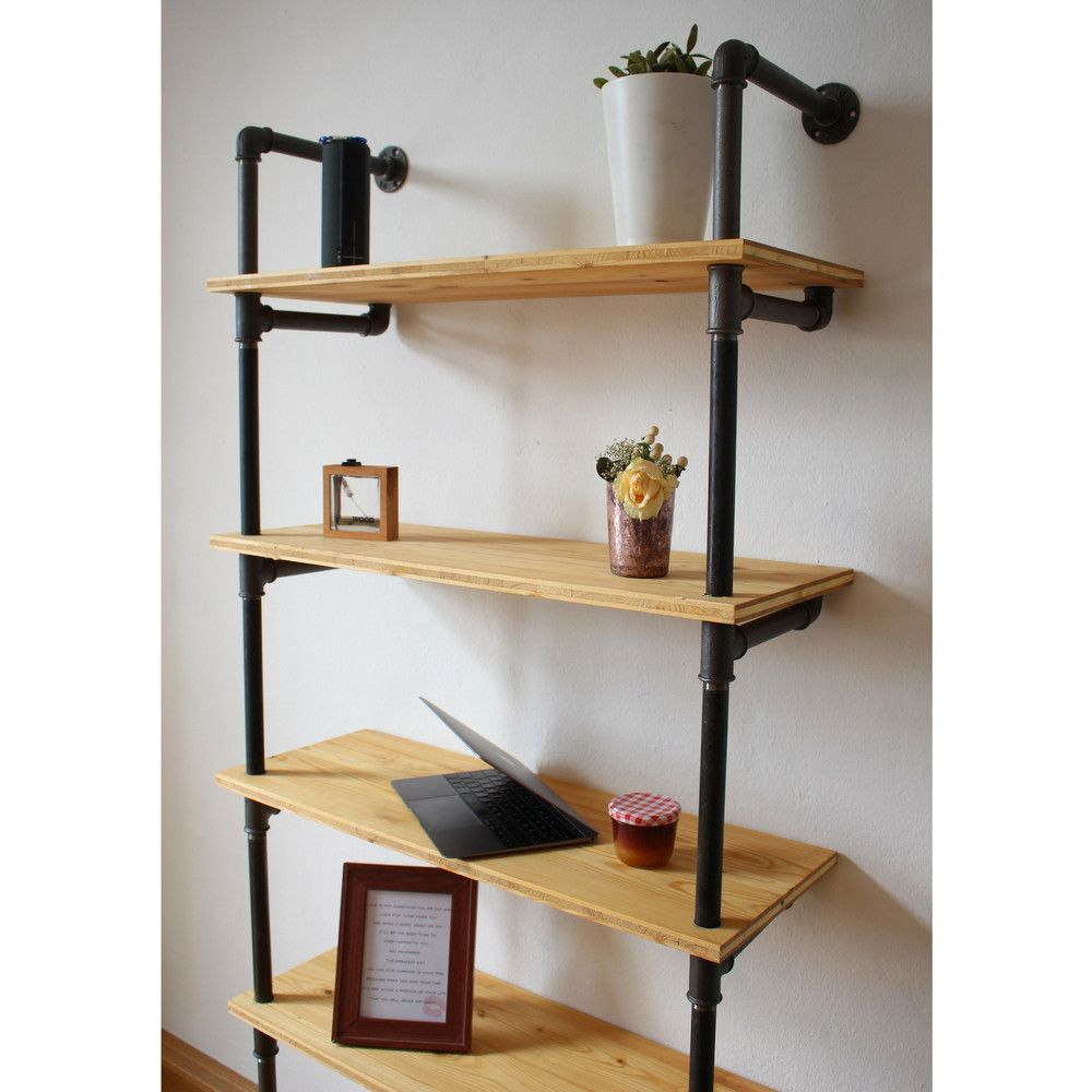 Modulares #Holzregal System mit fünf #Regalbrettern. ´#Wandregal