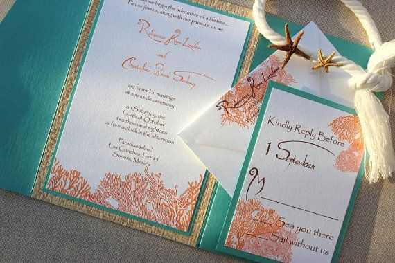 Blue And Coral Wedding Invitations: Wedding Invitations Beach Destination Tiffany Blue-White