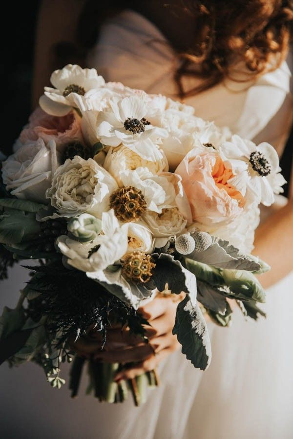 Romantic ivory, blush, and matte green wedding bouquet | Hartman Outdoor Photography