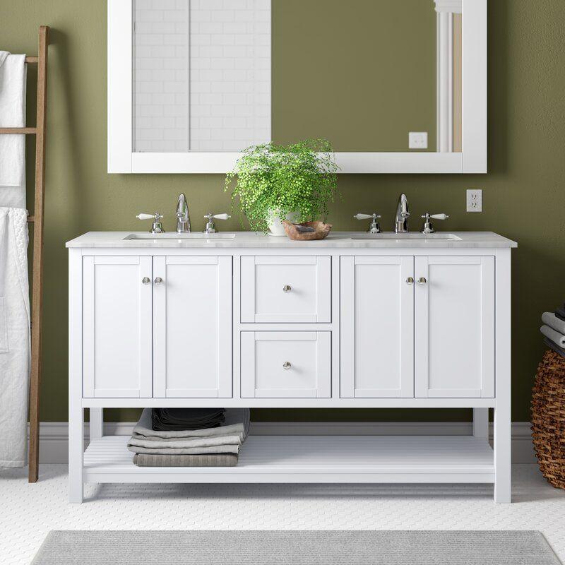 Eagleton Open Cabinet 60 Double Bathroom Vanity Set In 2020