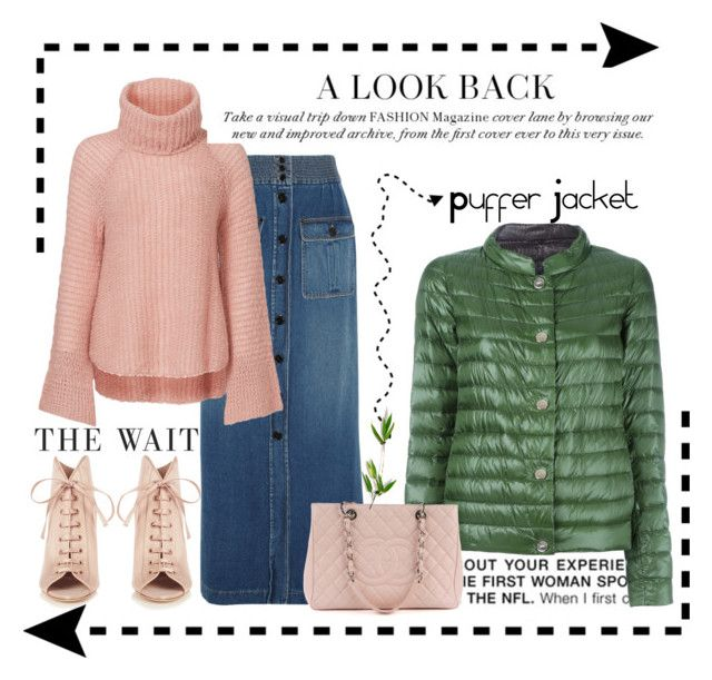 """""""Puffer Jacket"""" by conch-lady ❤ liked on Polyvore featuring Chloé, BCBGMAXAZRIA, Calypso St. Barth, Herno, Jimmy Choo, Chanel, pufferjacket and puffers"""