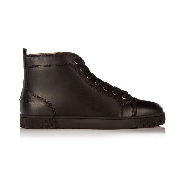 9adaa1e33df8d Christian Louboutin Louis high-top leather trainers ($653) ❤ liked on  Polyvore featuring
