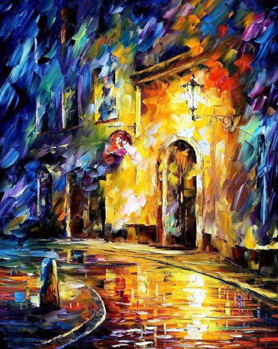 Old Town 3 — PALETTE KNIFE Cityscape Modern Wall Art Textured Oil ...