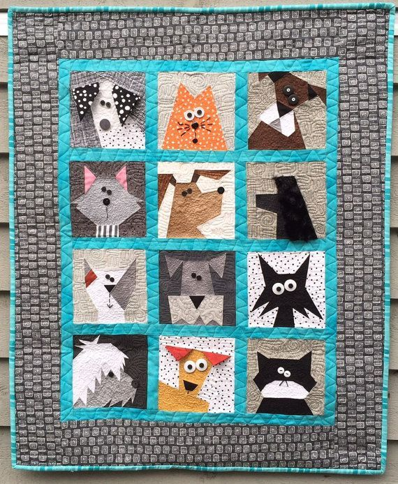 Cats N' Dogs Paper Pieced Quilt by madebymarney on Etsy | Quilting ... : quilting cats - Adamdwight.com