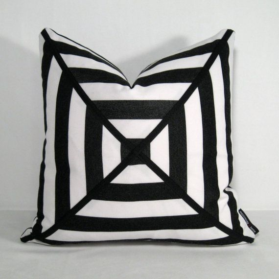 Black White Pillow Cover Striped Outdoor Pillow Decorative Pillow