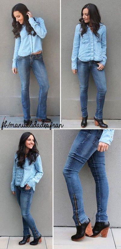 Transforma tus jeans acampanados en skinny con una cremallera