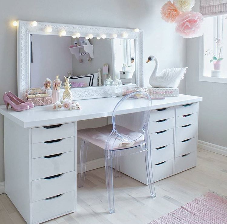 Ikea Double Alex 9 Drawer Customized Desk Vanity Cantinhos Da Maquiagem Sofas Modernos Decoracao De Quarto