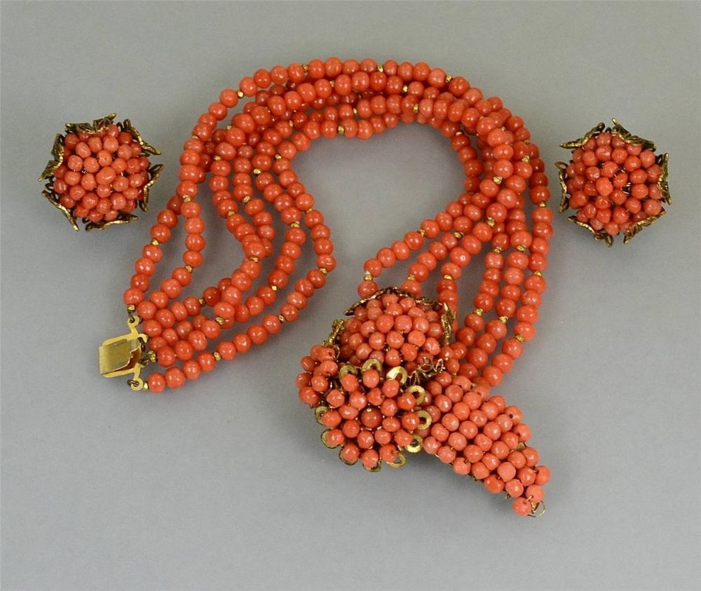 Fine Antique Miriam Haskell GENUINE Natural Italian CORAL Bracelet Earrings set…