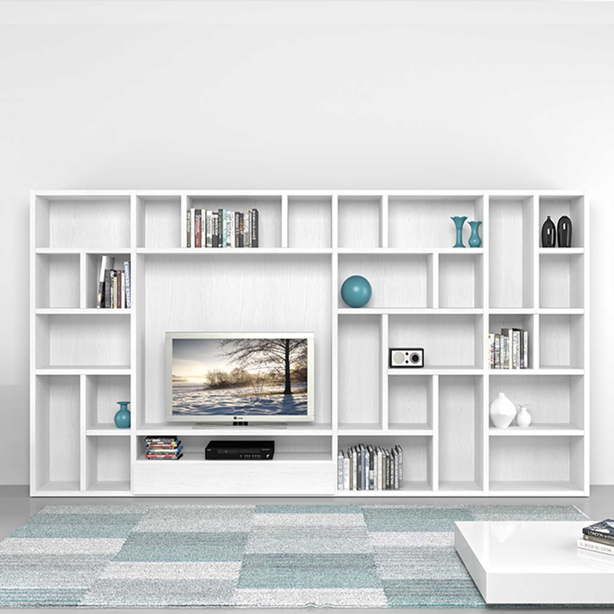 Delightful Modern Italian TV Unit/library Poral By Mobilstella L 333.2   H 182.1 At My
