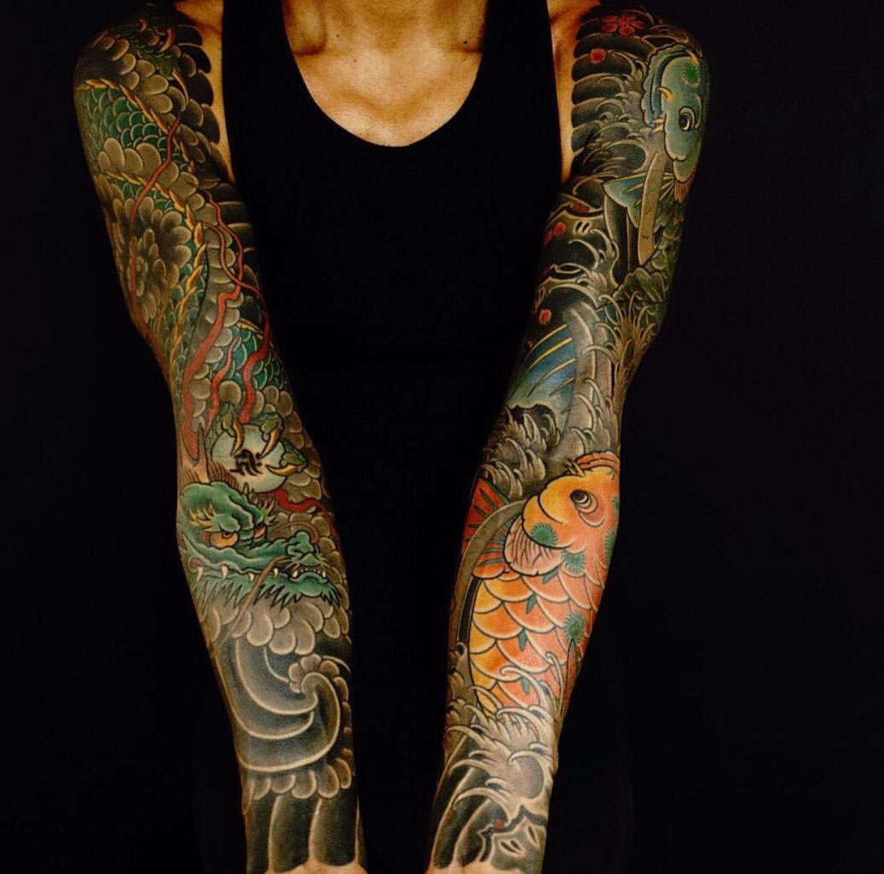 Japanese Koi Dragon And Wind Bars Tattoos Japanese Tattoo Tattoos For Guys