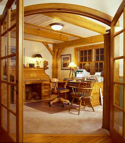 My Rafter House: Custom Home Office Featuring Refined Timber Framing In