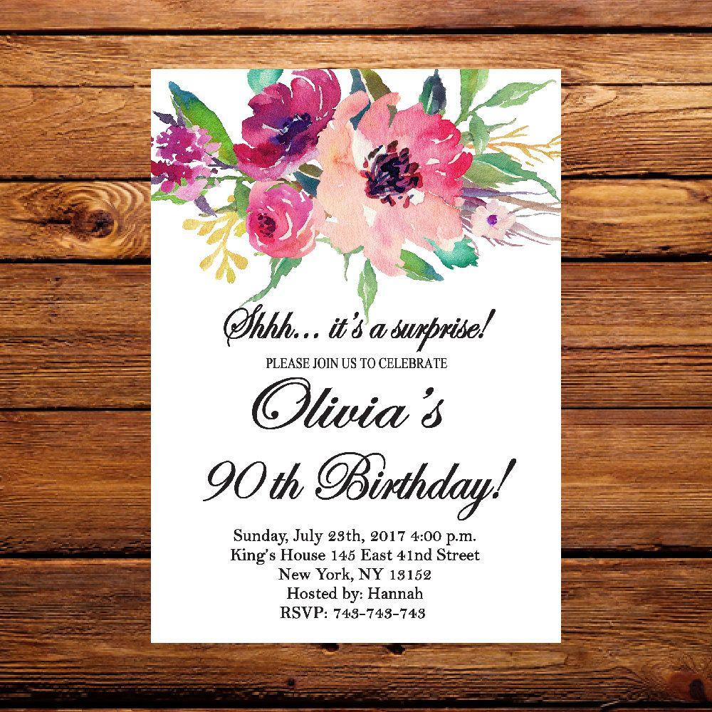 Floral invite,Surprise 80th Birthday Invitation, Floral