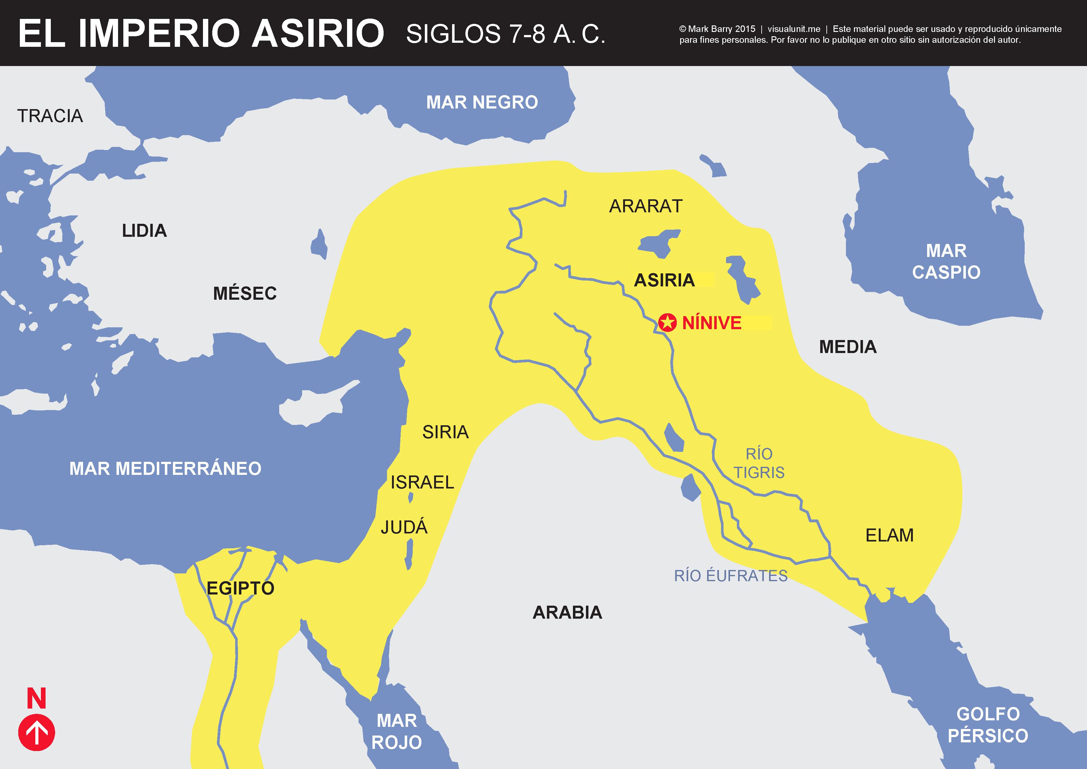 Un Mapa Simplificado Del Imperio Asirio En Los Siglos 7 Y