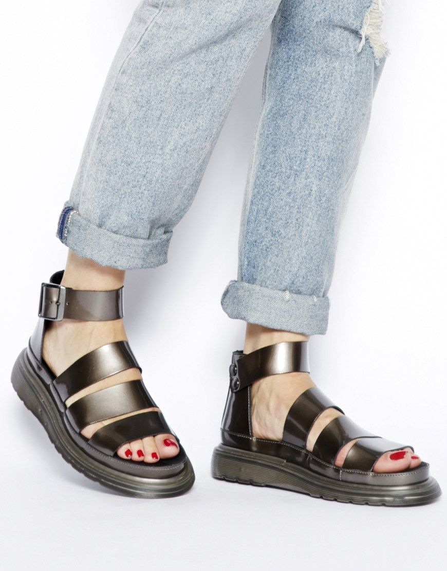 a148a8c313b6 Dr Martens Pewter Shore Clarissa Chunky Strap Sandals