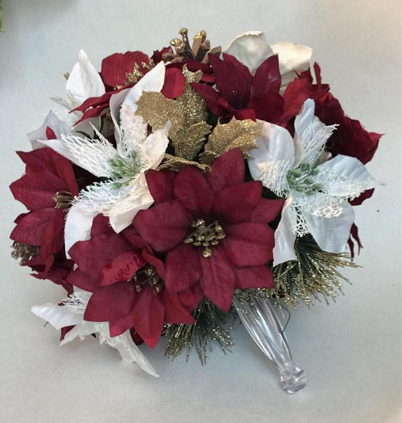 Winter Wedding Bouquet Burgundy Poinsettia Bouquet Christmas