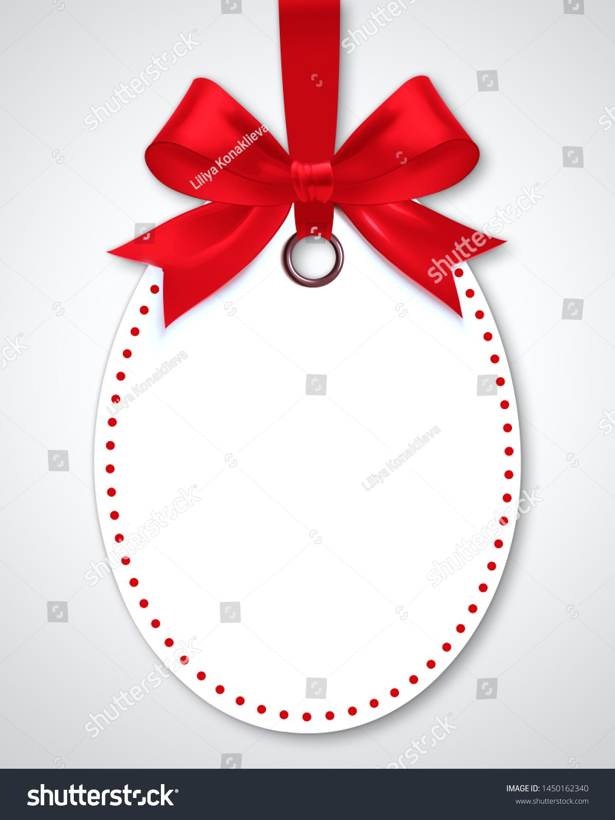 Decorative discount tag with red ribbon
