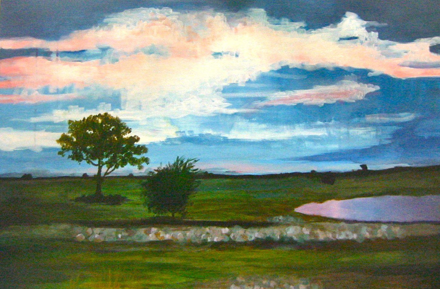 Student Artwork Landscape Nature Painting Oilpainting Sky Trees Grass Lake Art Corporate Art New York Art