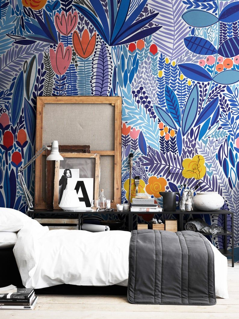 Blue Wildflower Removable Wallpaper Wall Art Wall Decor Etsy Wall Decor Bedroom Wall Wallpaper Home Decor