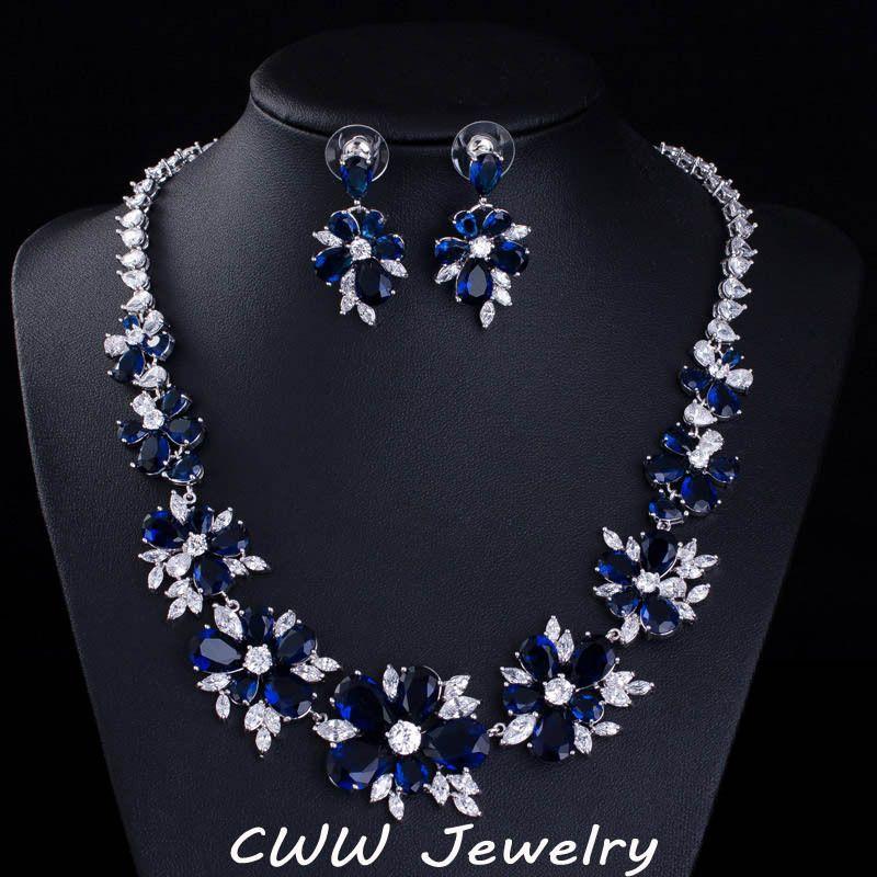 Shire Blue Cz Diamond Bridal Jewelry Cubic Zirconia Stone Flower Wedding Choker Necklace Earrings Sets