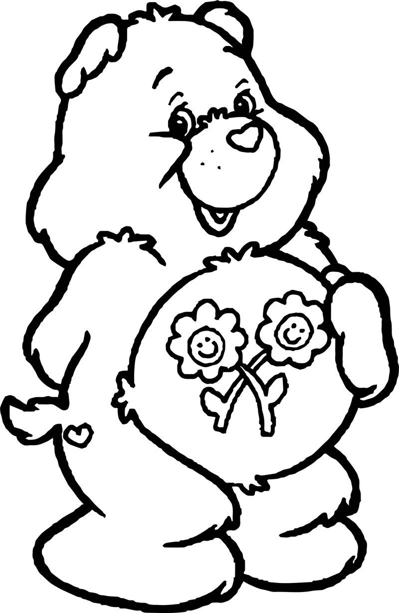 Flower Care Bears Coloring Page Bear Coloring Flower Care Care Bears Coloring Pages