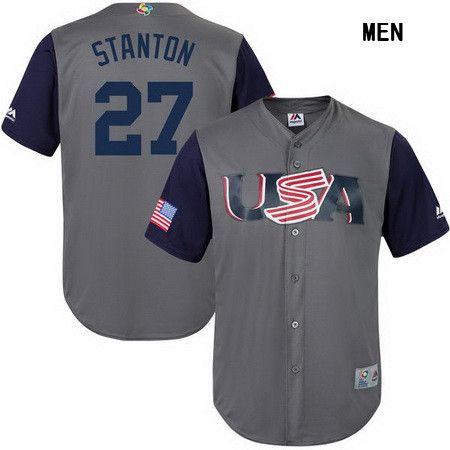 Men's Team USA Baseball Majestic #25 Jonathan Lucroy Gray 2017 World Baseball Classic Stitched Authentic Jersey