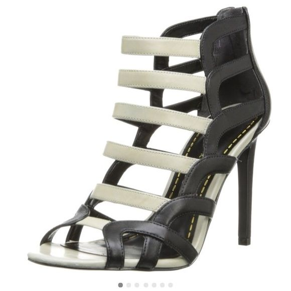"""SALEEnzo Angiolini Caged Brien Black/White 6 Brand new leather sandal . Features leather upper w back zip closure. Shaft measures approximately 10.5"""" from arch and a 4.25"""" heel. No trades or PP. Enzo Angiolini Shoes"""
