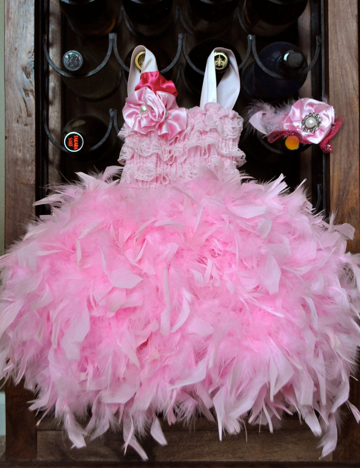 Bride flower girl birthday surprise couture feather dress pink t t