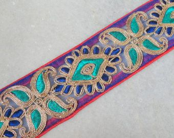 1 Yard- Multi-Color Floral Design Blue Fabric Trim-Embroidered Fabric Trim-Blue  Sari Border Trim-Embroidered Ribbon Trim By The Yard S1-0024 from ...