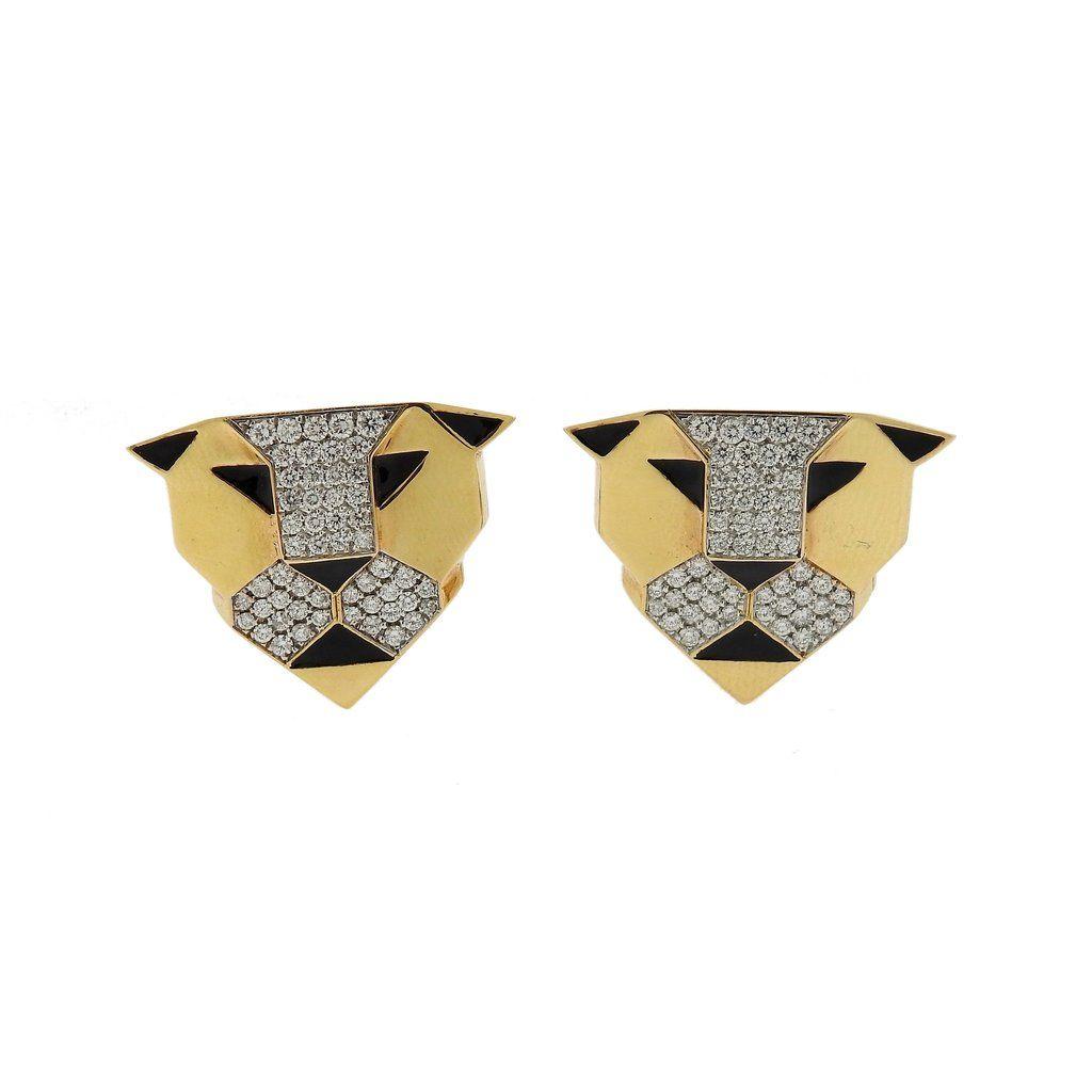 G. Bulgari Enigma Gold Diamond Panther Earrings
