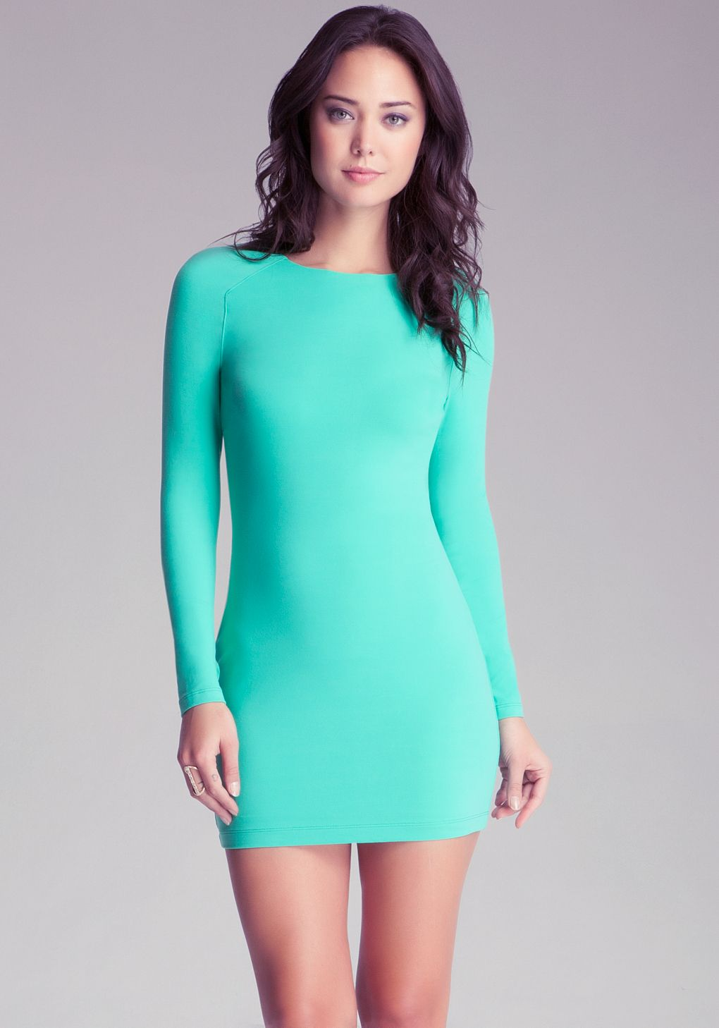 Bebe Green Long Sleeve Bodycon Dress | Bodycon Dresses | Pinterest ...