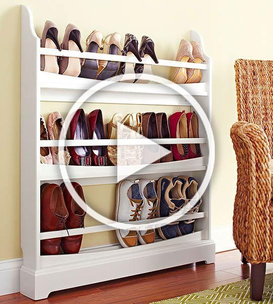 Outfit a Plate Rack. The slim design of a dining room plate rack proves a convenient and compact way to stash your favorite pairs. Easily store flats, sneakers, and pumps with heels pointed out. BH #plateracks