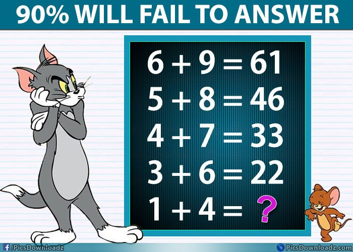If 6+9=61 Then 1+4=?? Logic Math Puzzle Only for Genius | Logic math ...