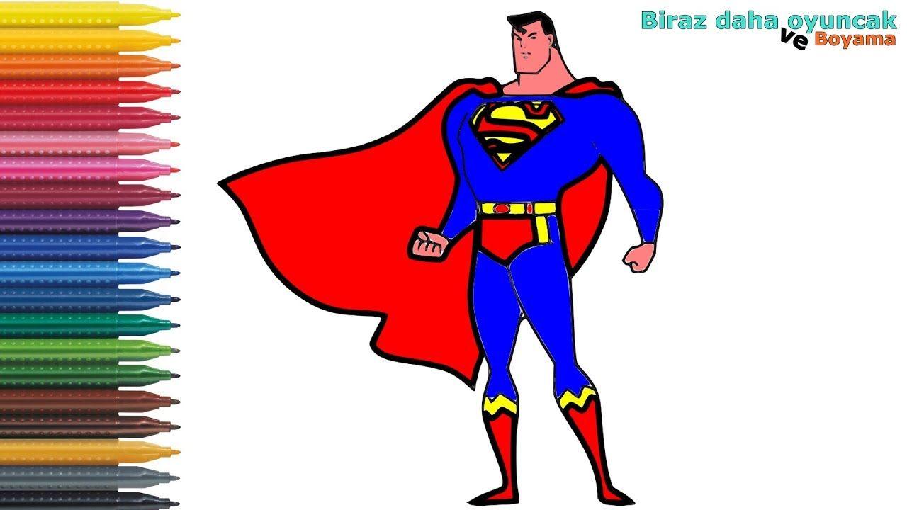Supermen Boyama Cocuklar Icin Boyama Videolari Boyama Oyunlari Supermen Painting Karikatur