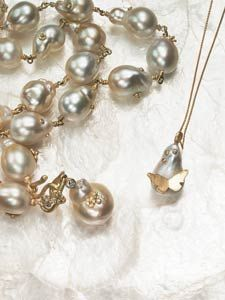baroque South Sea pearl necklace with 18k yellow gold floral