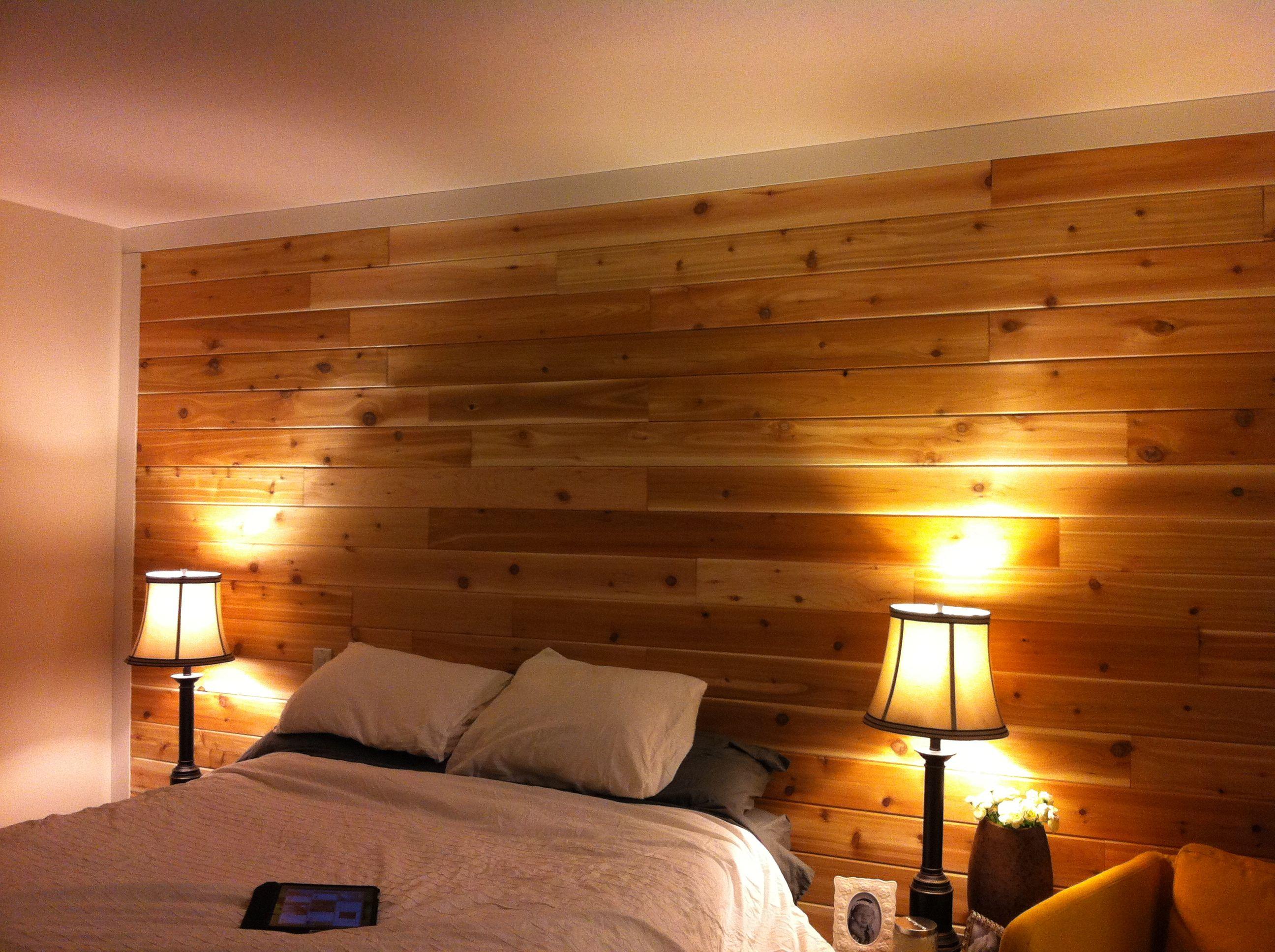 Cedar wood wall master bedroom diy diy pinterest bedroom