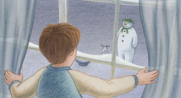 THE SNOWMAN /& THE BOY HOLDING SNOWDOG ~ RAYMOND BRIGGS THE SNOWMAN POSTCARD