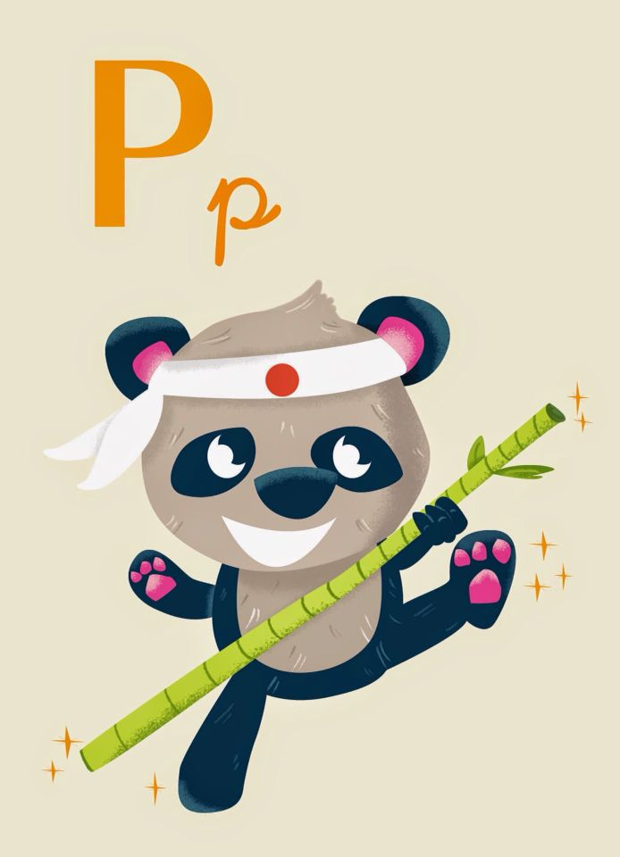 Panda bear illustration for kids or nursery room, p is for panda kung-fu ! Bientôt sur le shop de geekygirl @sapristipopette www.geekygirl.fr