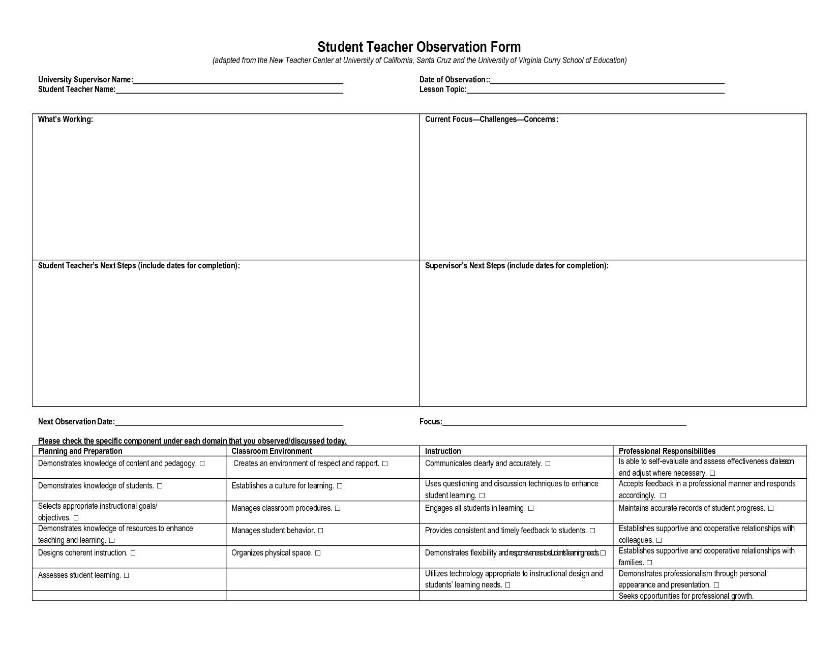Student Observation Form Template   Teaching and Learning ...